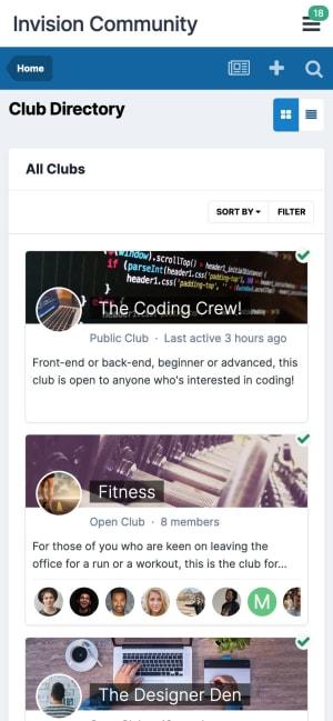 Screenshot of Clubs