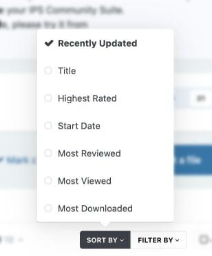 Screenshot of sorting options