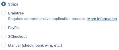 Screenshot of payment methods