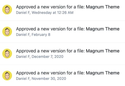 Screenshot of revisions