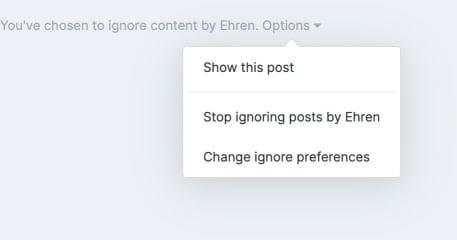 Screenshot of ignored member