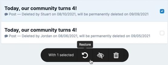 Screenshot of Restoring Content