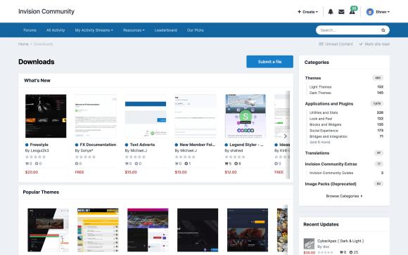 Screenshot of Downloads index