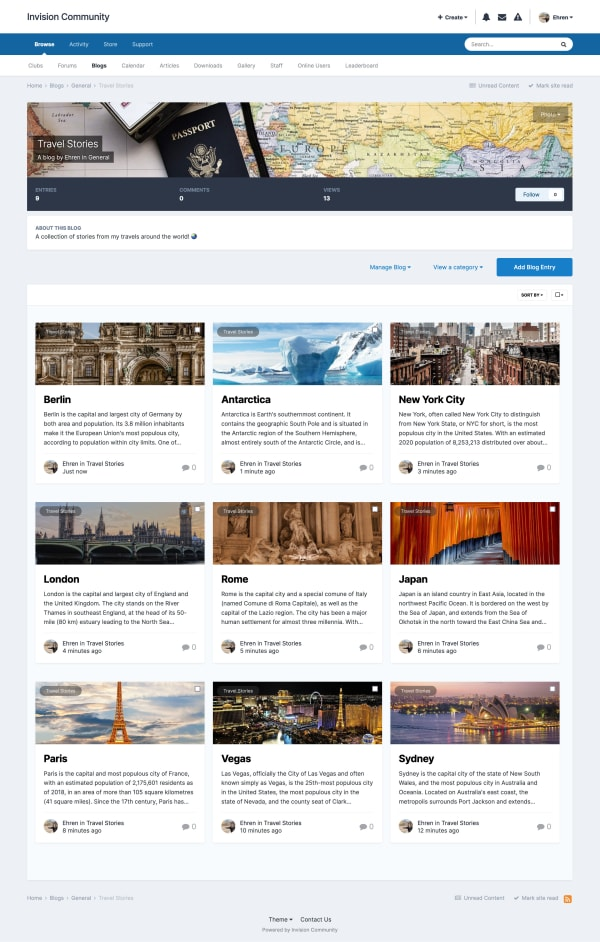 Screenshot of blog listing