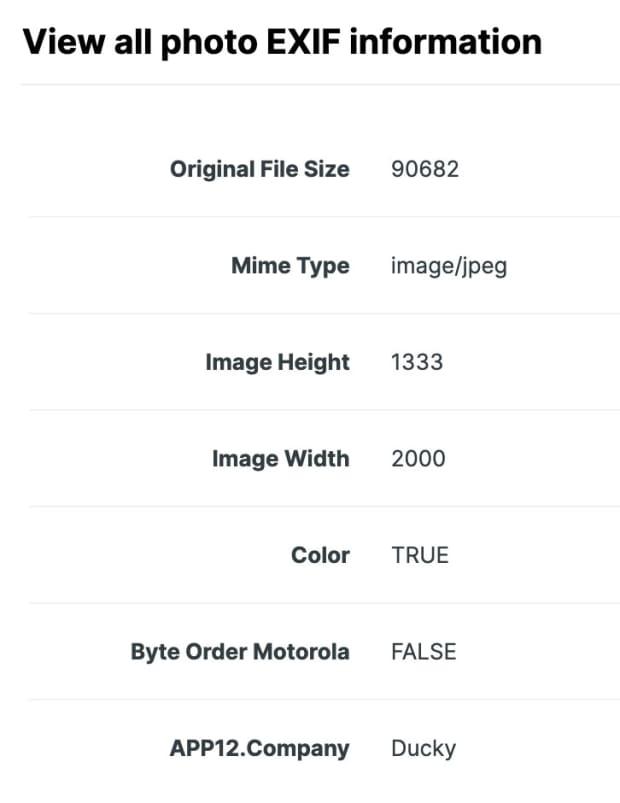 Screenshot of EXIF information