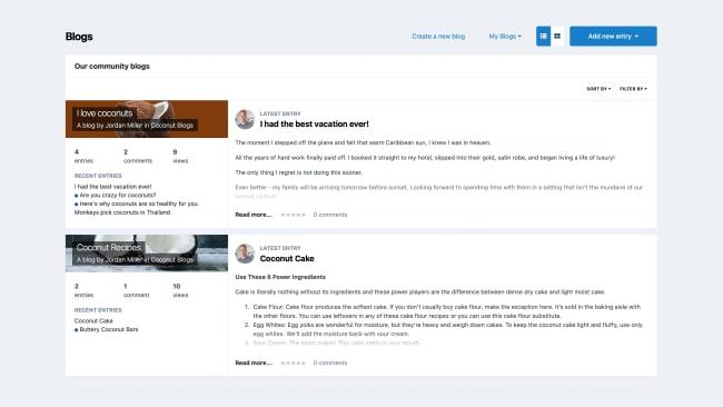 Screenshot of Blogs