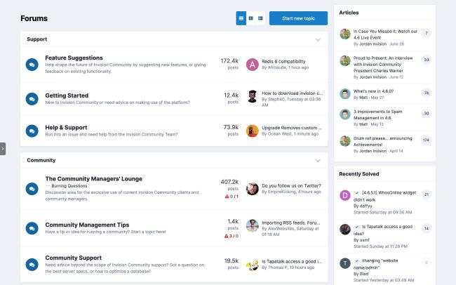 Screenshot of Forum index page