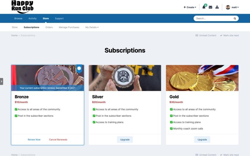 Screenshot of Subscription options