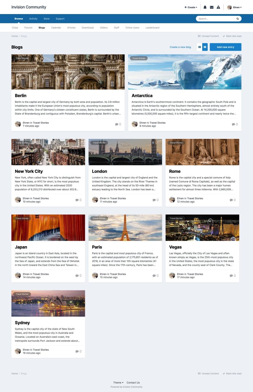 Screenshot of blog list
