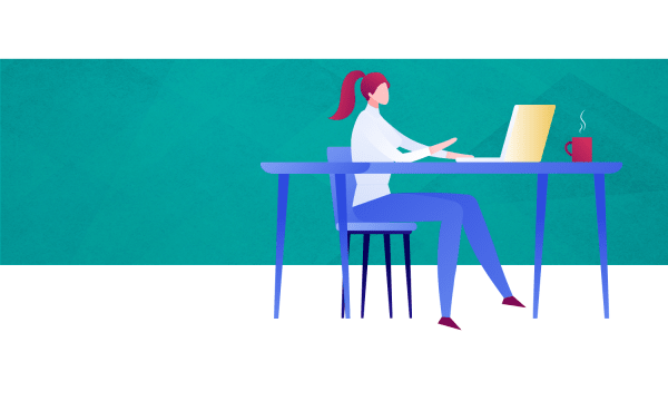 Illustration: Woman with laptop and coffee.