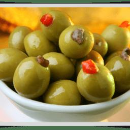 Aceitunas Verdes Rellenas con Morrones y Crema