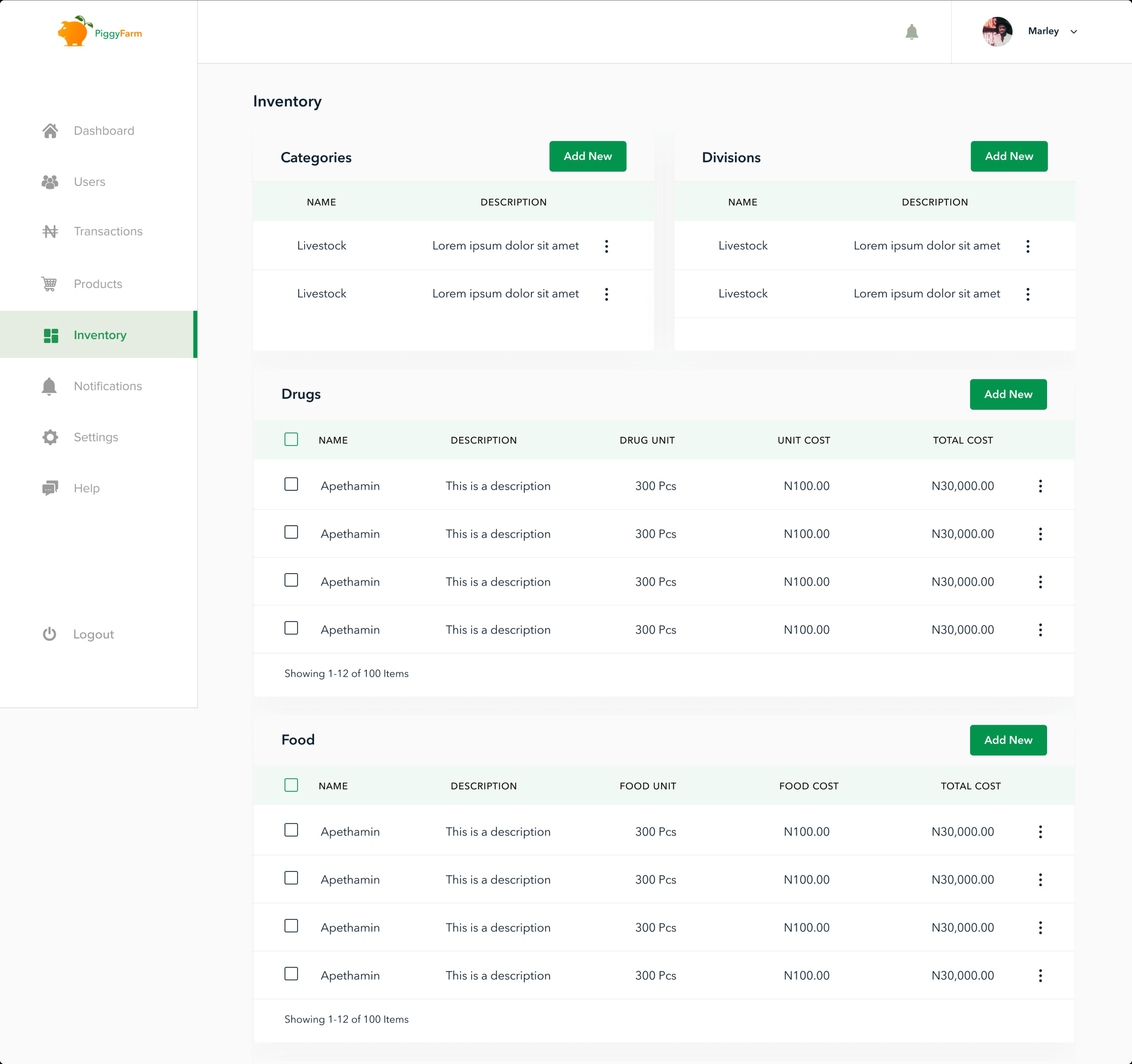 PiggyFarm Admin Inventory Page