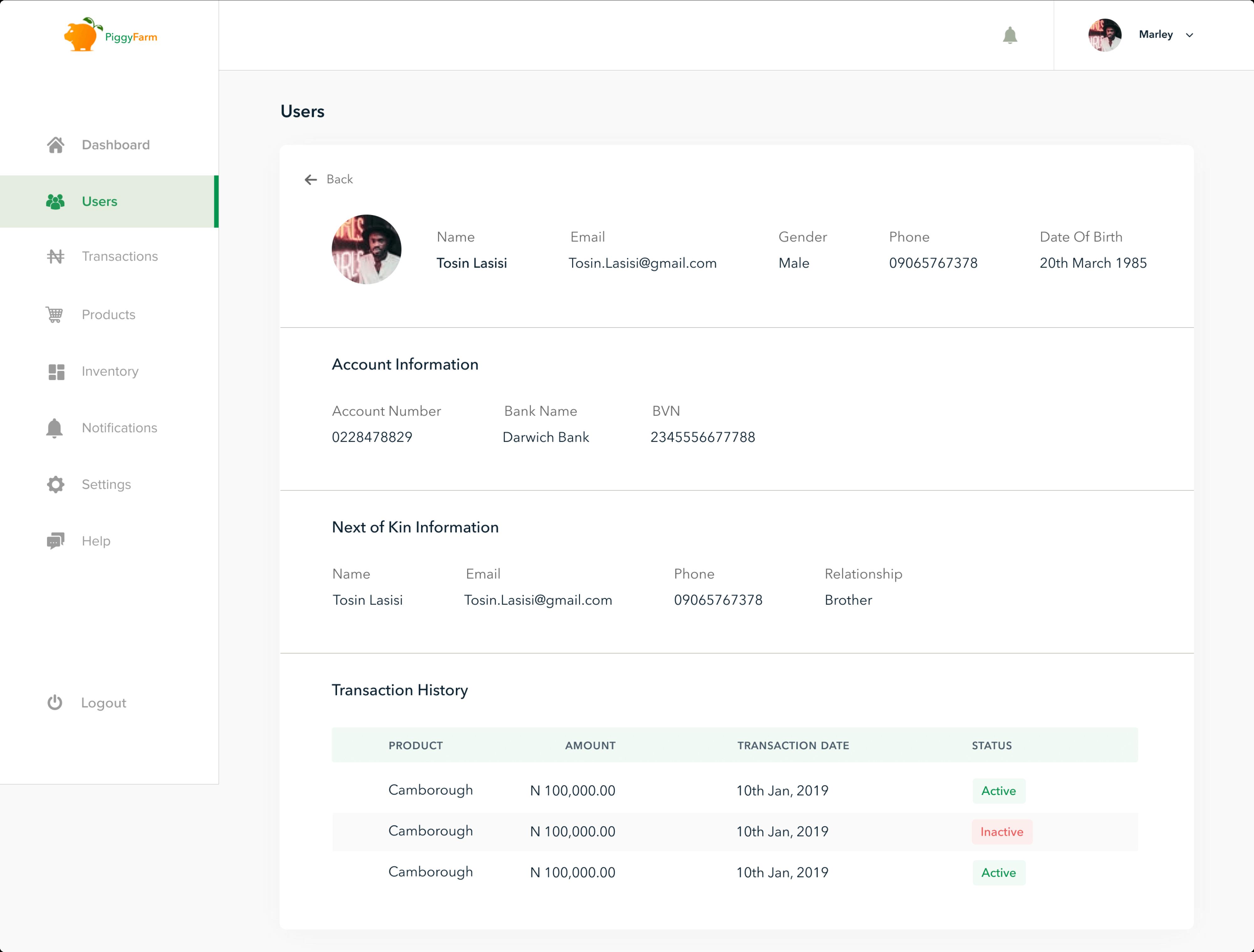 PiggyFarm User Details Page