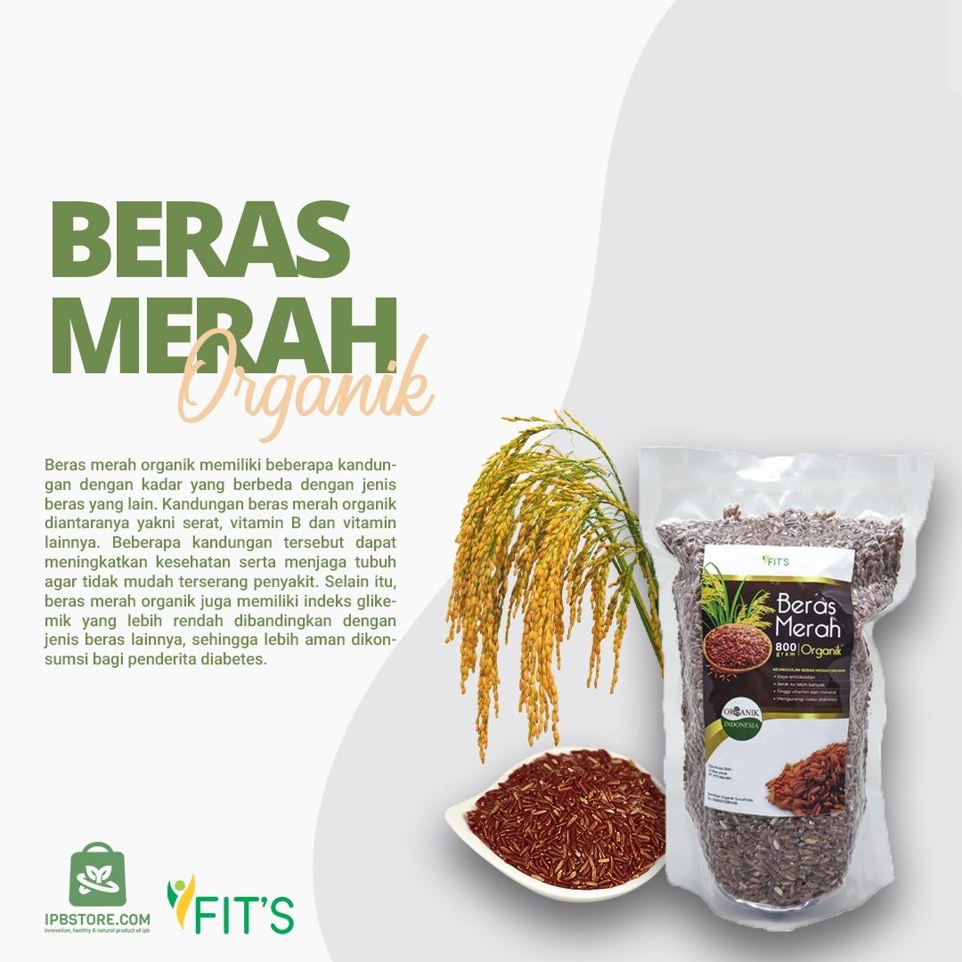 Beras Merah Organik Rendah Gula Untuk Diabetes Alami Murah FITS 800gr - IPB Store