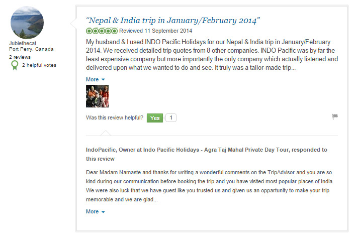 Trip adviser : Customer Feed Back About Indo pacific Holidays