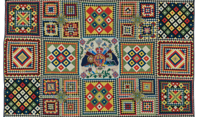 Mosaic soldier quilt made by British soldier, likely in India.