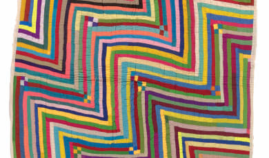 multicolored ralli quilt made by Permaben Maheshwari Dangera in India