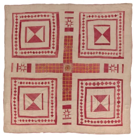a red cross in the middle with sunbursts at the ends. all four corners feature squares with hour-glass shapes and outlines of squares in them.