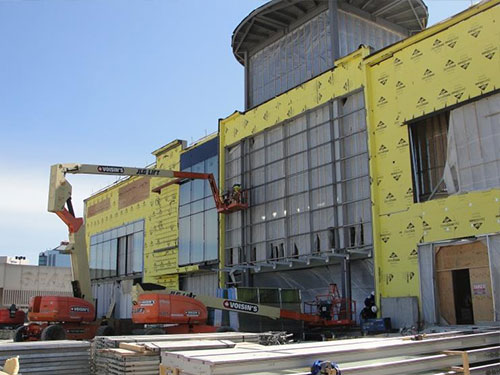 Installation of curtain wall framing at the main entrance of new expansion