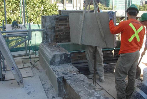 Stone Parapet Restoration in Progress