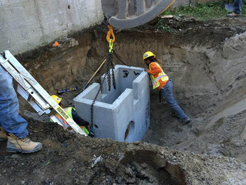 Installation of Double Catch Basins at Loading Dock