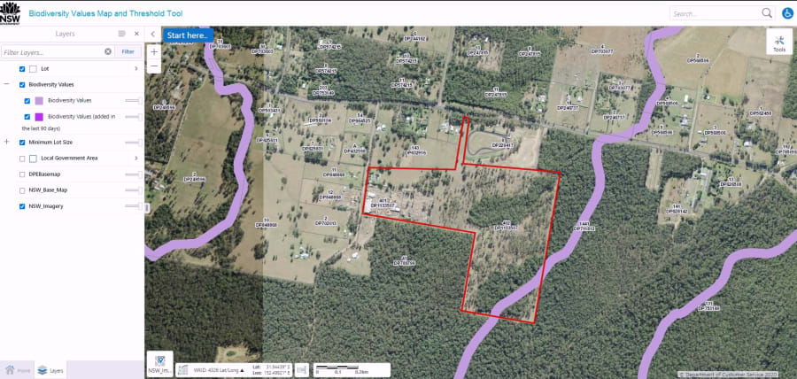 Showing areas of biodiversity - Euc. spp. ironwood timber mill near Taree Australia