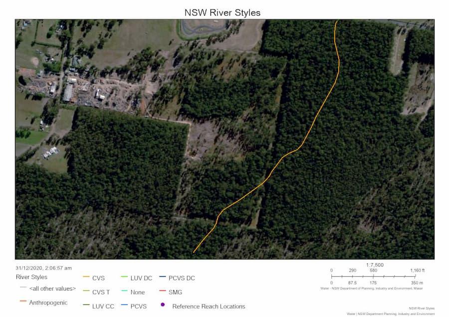 Showing river styles - Euc. spp. ironwood timber mill near Taree Australia