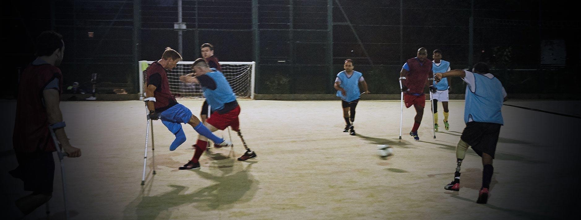 Ray Westbrook playing amputee football