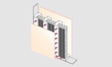Colocación para tabiques internos Ondusec Reflex