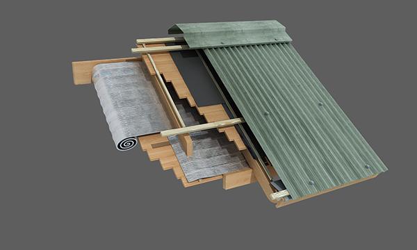 Techo existente de machimbre con cubierta de chapa