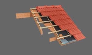 Techo existente de machimbre con cubierta de tejas
