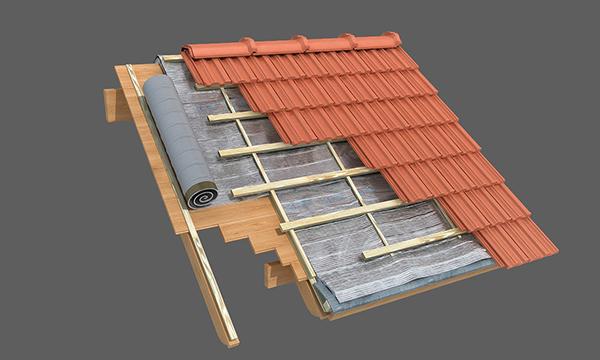 Techo de machimbre nuevo con cubierta de tejas