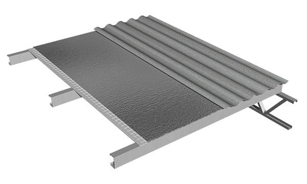 La membrana se fija conjuntamente con la chapa, con tornillos autoperforantes o ganchos. Gracias a la memoria elástica del material, la espuma se cierra en el punto de fijación, impidiendo el pasaje de agua o vapor.