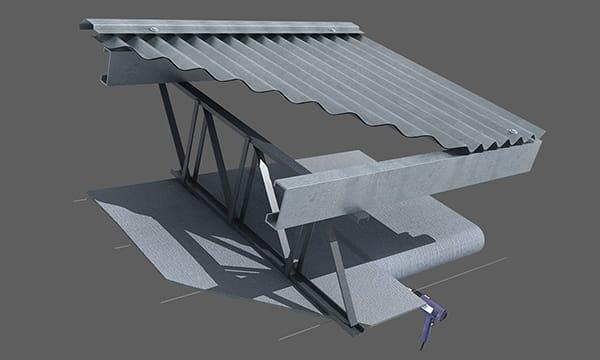 A continuación se instalan del mismo modo los rollos subsiguientes ejecutando la unión preferentemente por termosoldado. Tense la membrana y fíjela a los muros laterales del galpón.
