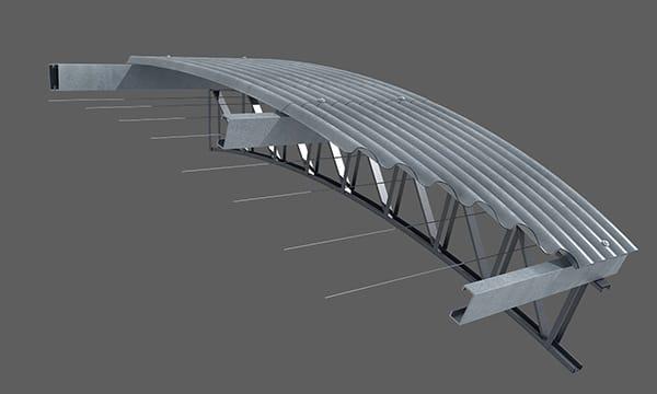 Se tensan los alambres o cables de sostén, dispuestos paralelamente y separados de 60 a 80cm entre sí. Los mismos se fijan en los muros opuestos del galpón (en un solo sentido) por medio de tensores. Los alambres se colocan acompañando la forma del techo.