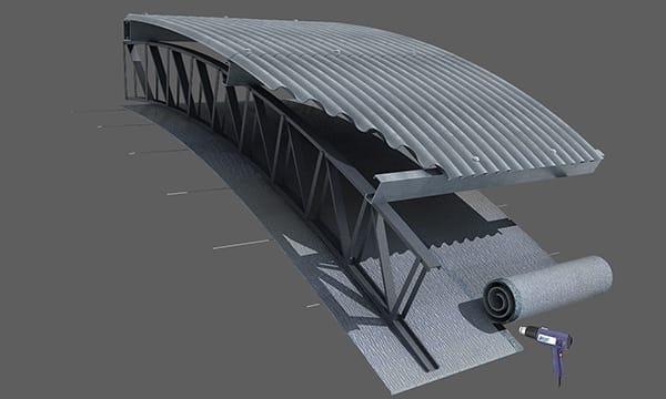 Colocación en techo parabólico bajo estructuras