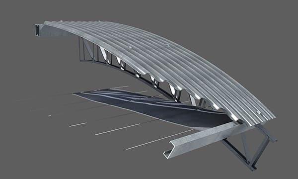 Se coloca la membrana pasándola alternativamente por encima y por debajo de los alambres. Se instalan del mismo modo los rollos subsiguientes ejecutando la unión preferentemente por termosoldado. Tense la membrana y fíjela a los muros laterales del galpón.