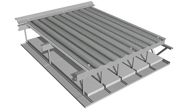 Nuestras membranas no pueden quedar a la vista desde el interior, es decir expuestas a la acción de los rayos UV por reflexión indirecta. Se debe completar el techo con un cielorraso suspendido.