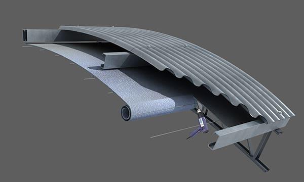 Colocación en techo parabólico bajo correas