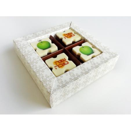 4 פרלינים ממותגים בקופסת מתנה מהודרת