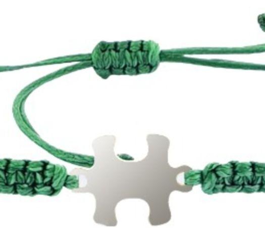 צמיד הפאזל שלנו - ירוק זית, בציפוי כסף