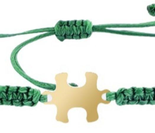 צמיד הפאזל שלנו - ירוק זית, בציפוי זהב