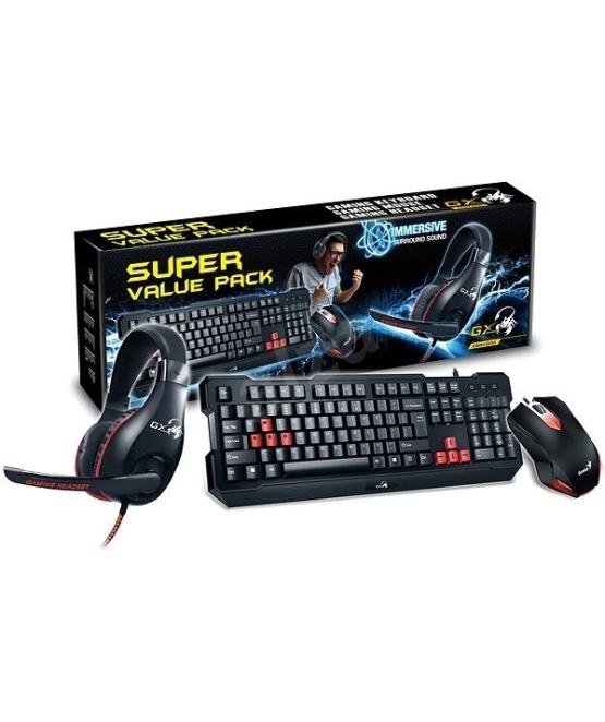 סט לגיימרים כולל מקלדת, עכבר ואוזניות עם מיקרופון Genius GX Gaming KMH-200 Super Value Pack