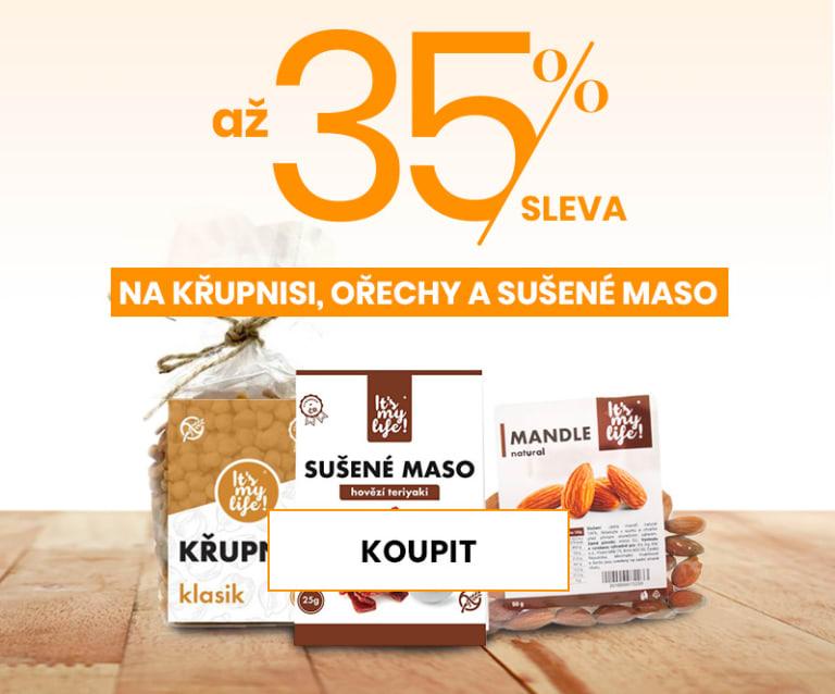 35% sleva na Křupni si, ořechy a sušené maso.