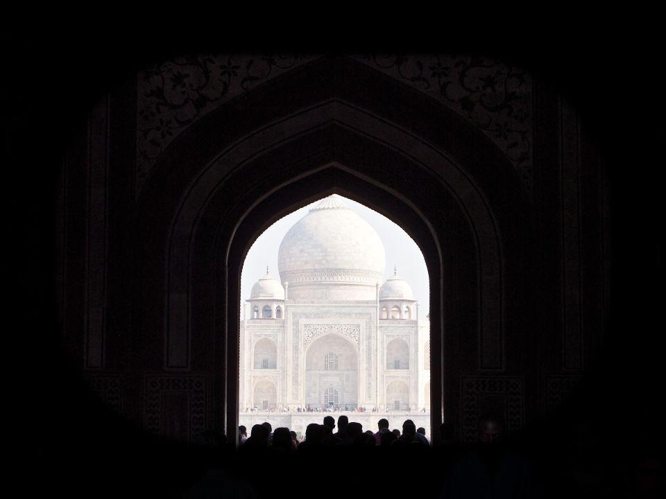 Primera vista del Taj Mahal