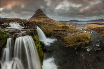 Kirkjufellsfoss, waterfall, in Snaefellsnes