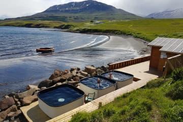 Hauganes beach hot tubs