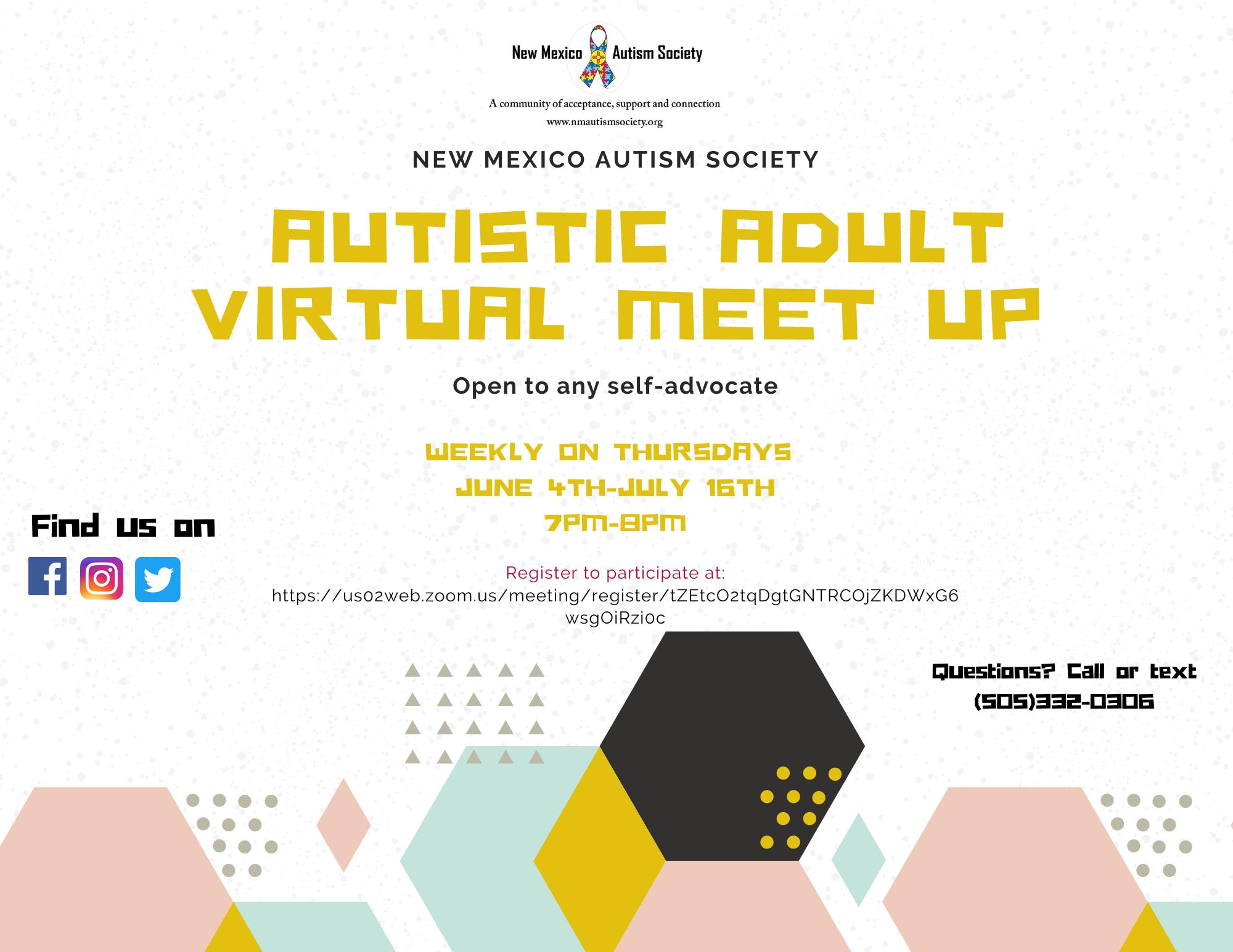 Autistic Adult Virtual Meet Up Image