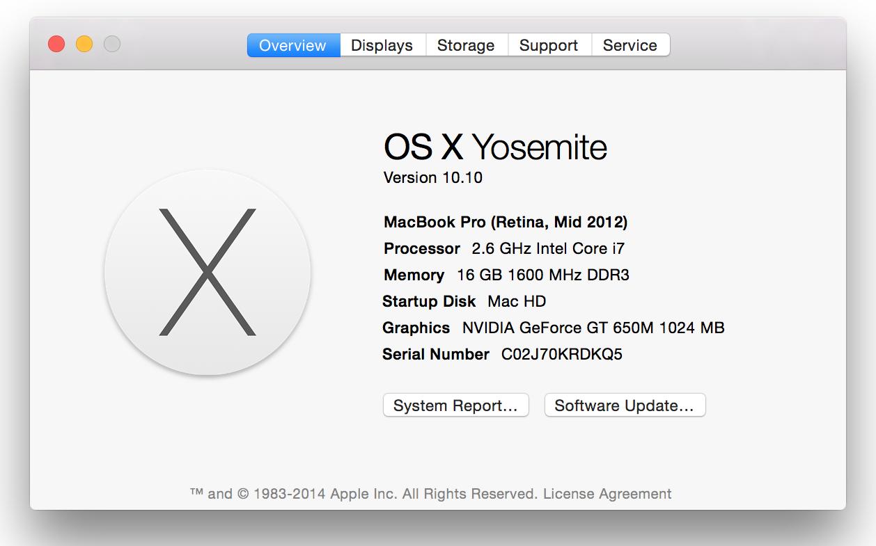 RAM on Mac OS Yosemite