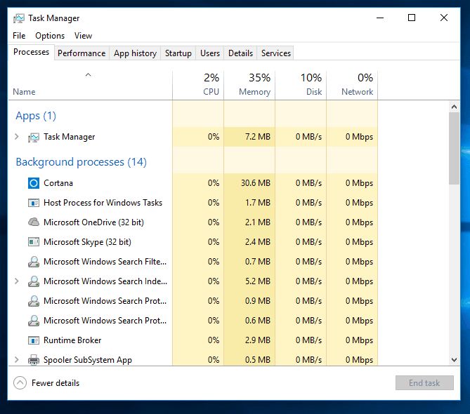Windows PC faster with task manager